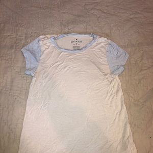 short sleeve blue and white aerie shirt